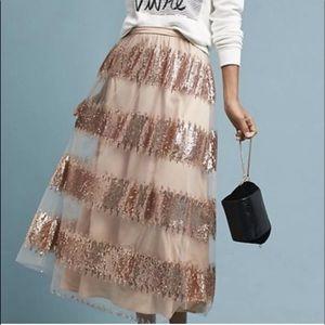 Eva Franco Sequin Skirt Striped Mesh Blush Nude 12